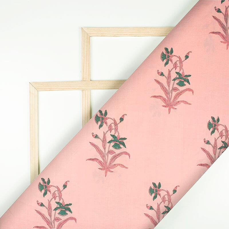 Rose Pink Floral Hand Block Print Cotton fabric Fabcurate