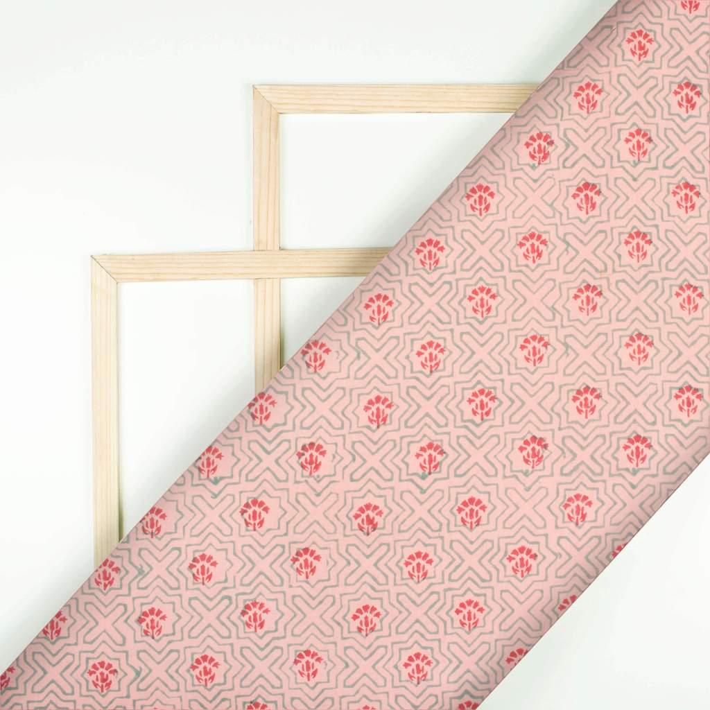 Rose Pink Geometrical Block Print Cotton Fabric Fabcurate